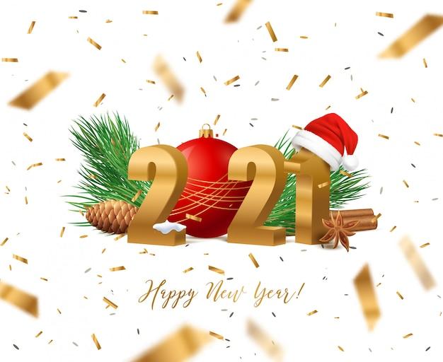 Feliz año nuevo 2021 con decoración navideña vector gratuito