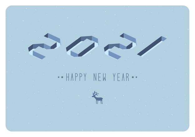 Feliz año nuevo 2021 diseño de texto del logotipo. ilustración vectorial Vector Premium