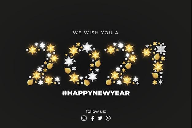 Feliz año nuevo 2021 tarjeta de felicitación con elegante decoración navideña vector gratuito