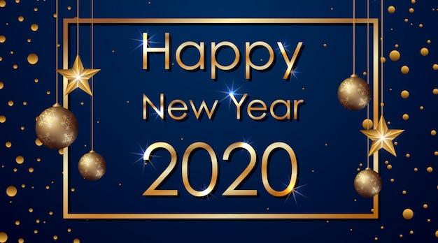 Feliz año nuevo banner 2020 vector gratuito