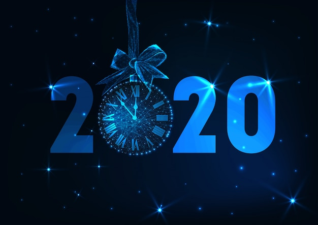 Feliz año nuevo banner con texto futurista que brilla intensamente bajo poli 2020, cuenta regresiva del reloj, arco de regalo, estrellas. Vector Premium