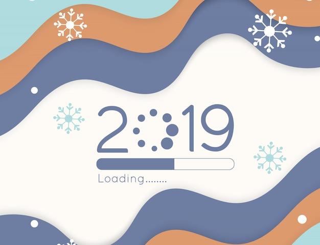 Feliz año nuevo carga progreso pronto 2019 barra de corte de papel de onda de color suave y caída de nieve Vector Premium