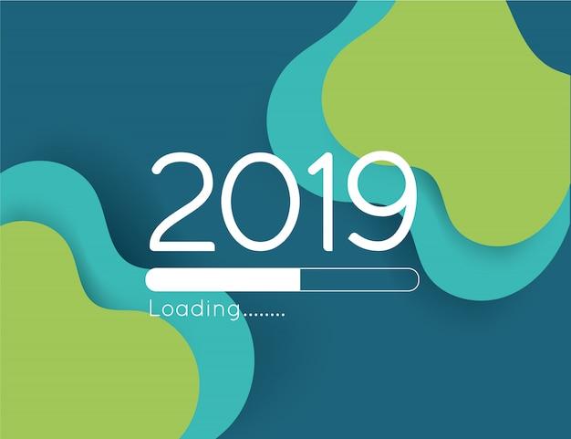Feliz año nuevo cargando progreso 2019 ilustración barra de corte de papel de onda verde abstracta Vector Premium