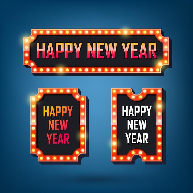 Feliz año nuevo carteles de bombillas eléctricas marcos de luz retro. Vector Premium
