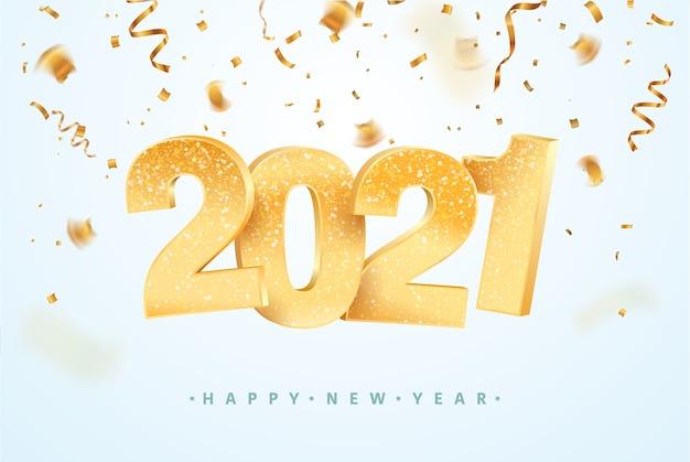 Feliz año nuevo celebrando. fondo de vacaciones de navidad con confeti. Vector Premium