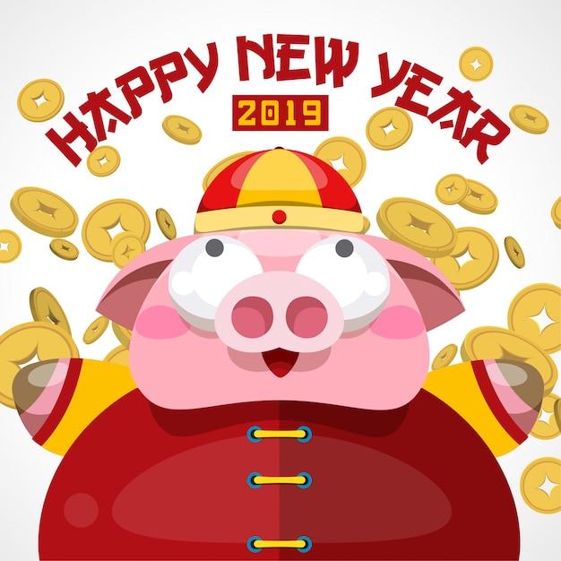 Feliz año nuevo chino 2019 diseño. Vector Premium