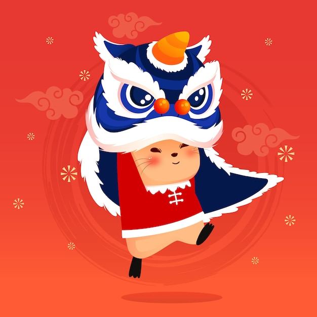 Feliz año nuevo chino 2020 con cabeza de danza del león Vector Premium