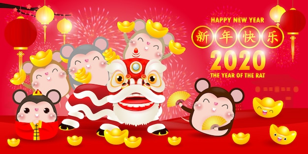 Feliz año nuevo chino 2020 del cartel del zodiaco rata Vector Premium