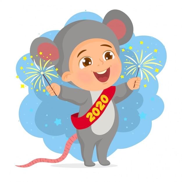 Feliz año nuevo chino 2020 tarjeta de felicitación Vector Premium