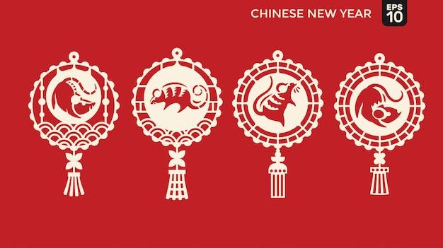 Feliz año nuevo chino de personaje de rata cortada en papel, linterna y marco de celosía Vector Premium