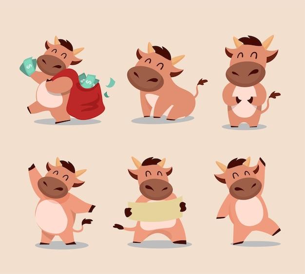 Feliz año nuevo chino zodíaco del buey. lindo juego de caracteres de vaca. Vector Premium