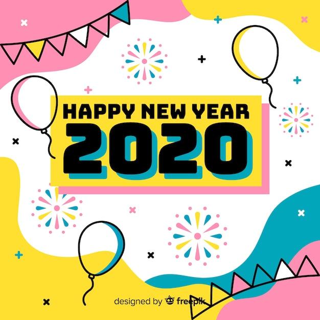Feliz año nuevo concepto en diseño plano vector gratuito