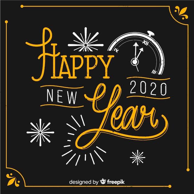 Feliz año nuevo concepto con diseño vintage vector gratuito