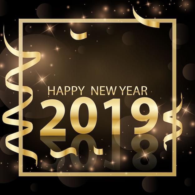 Feliz año nuevo diseño 2019 3d vector de oro ilustración Vector Premium