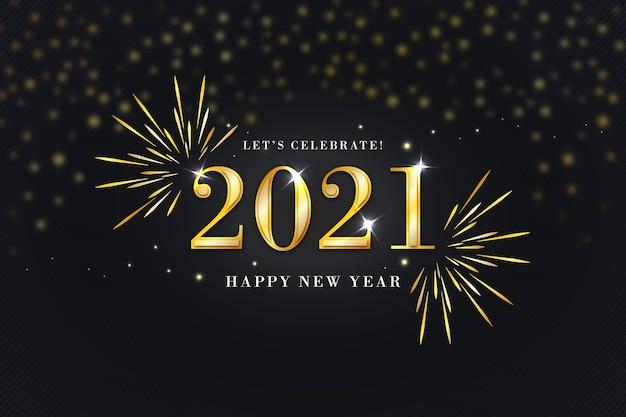 Feliz año nuevo dorado 2021 Vector Premium