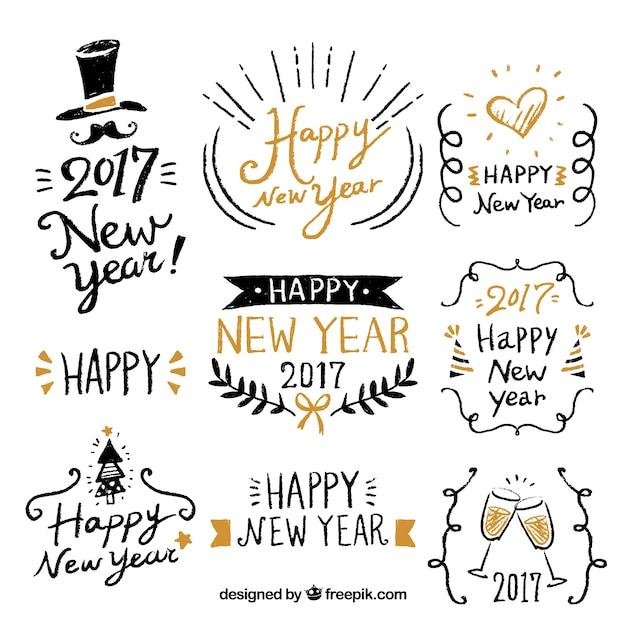 Feliz año nuevo con fantásticas etiquetas dibujadas a mano vector gratuito