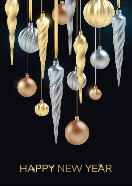 Feliz año nuevo fondo con bola de navidad realista de oro y plata, carámbanos en espiral sobre un fondo vertical negro. Vector Premium