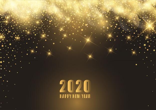 Feliz año nuevo fondo con estrellado vector gratuito