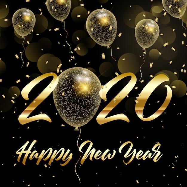 Feliz año nuevo fondo con globos dorados brillantes vector gratuito