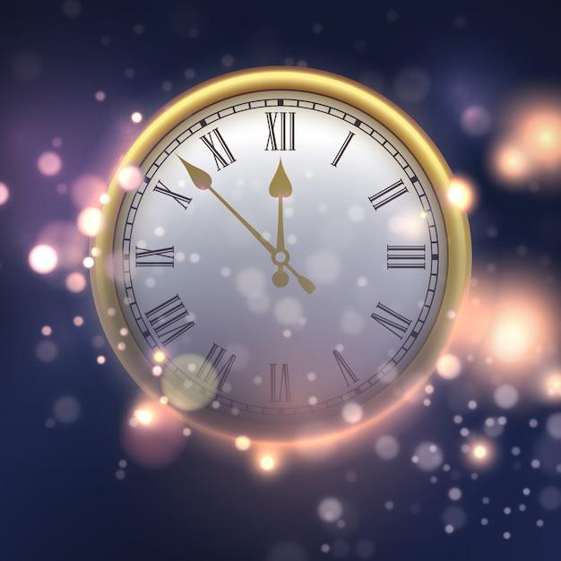 Feliz año nuevo fondo con reloj Vector Premium