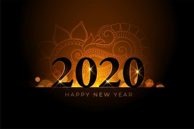 Feliz año nuevo hermoso fondo dorado vector gratuito