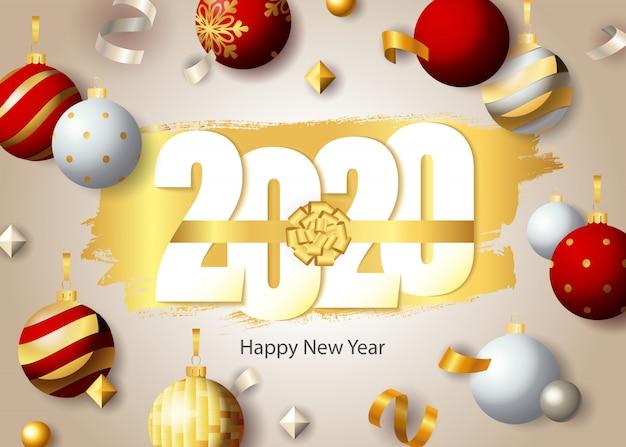 Feliz año nuevo, letras 2020 y adornos festivos vector gratuito