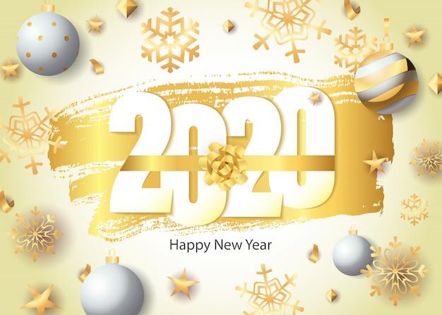 Feliz año nuevo, letras 2020, copos de nieve dorados y bolas vector gratuito