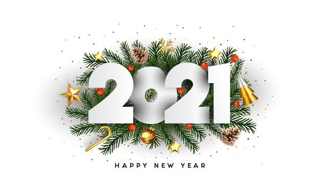 Feliz año nuevo, números 2021 en ramas de abeto verde y adornos navideños sobre fondo blanco. plantilla de cartel de promoción o tarjeta de felicitación. . Vector Premium
