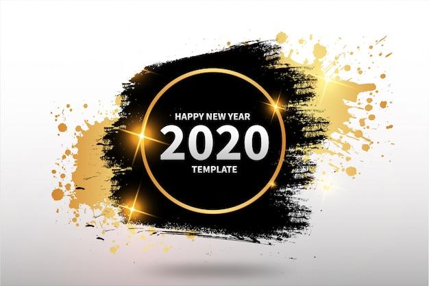 Feliz año nuevo plantilla con banner abstracto vector gratuito
