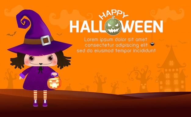 Feliz bruja de halloween linda chica y calabaza, plantilla de texto para tarjeta de felicitación Vector Premium