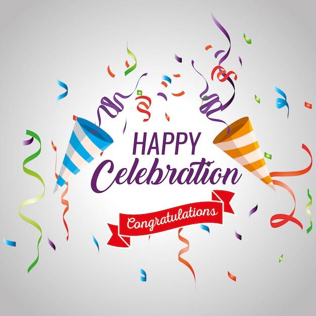 Feliz celebración con decoración de confeti y cinta vector gratuito