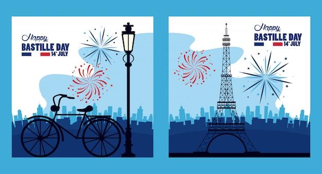 Feliz celebración del día de la bastilla con torre eiffel y fuegos artificiales Vector Premium