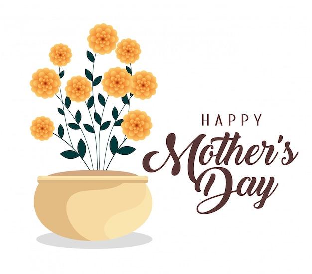 Feliz celebración del día de la madre con plantas de flores vector gratuito