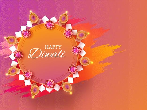 Feliz celebración de diwali fondo. Vector Premium