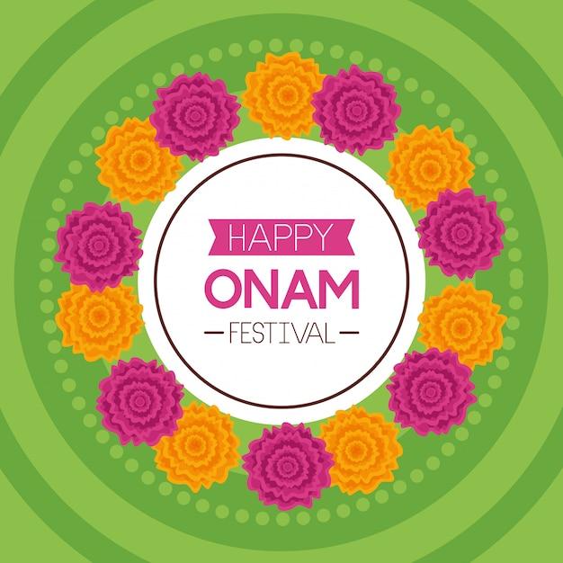 Feliz celebración del festival onam vector gratuito