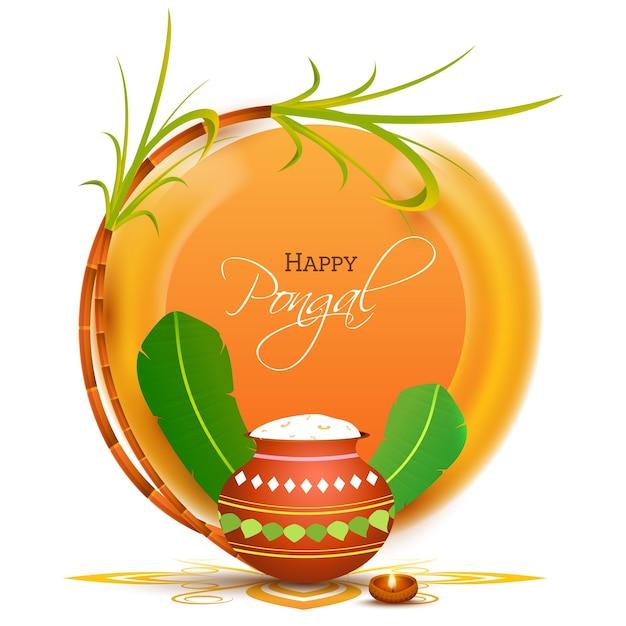 Feliz celebración de pongal con olla de barro llena de arroz pongali Vector Premium