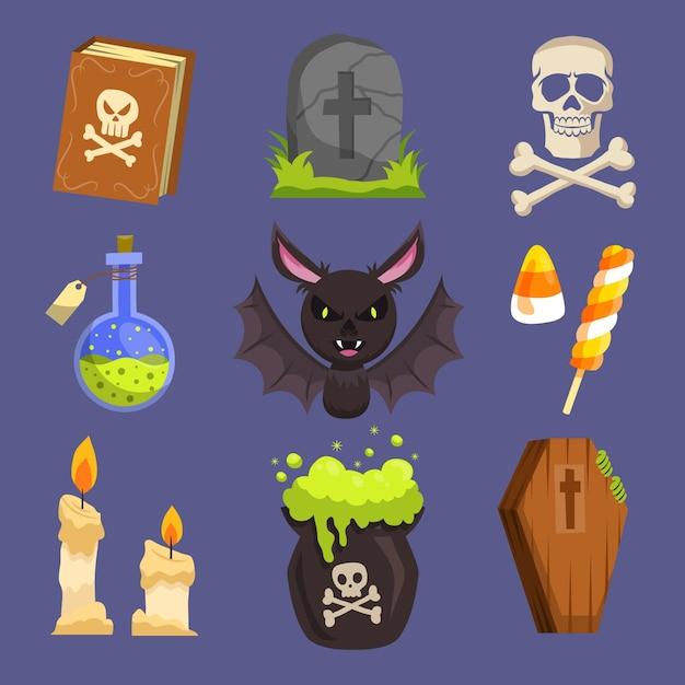 Feliz colección de elementos de halloween vector gratuito