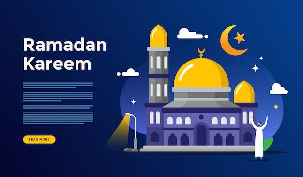 Feliz concepto de saludo de ramadán kareem con carácter de personas para la plantilla de página de aterrizaje web Vector Premium
