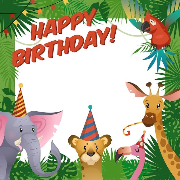 Feliz cumpleaños baby shower saludo zoológico tropical celebrar plantilla de invitación para niños Vector Premium
