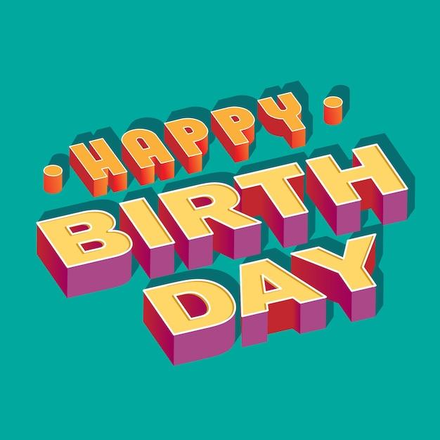 Feliz cumpleaños banner 3d vector gratuito