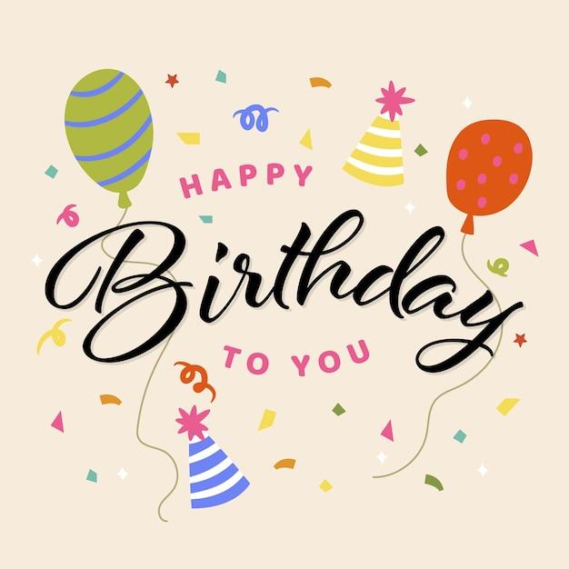 Feliz cumpleaños concepto de fondo vector gratuito