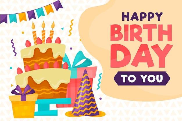 Feliz cumpleaños con un delicioso pastel. Vector Premium
