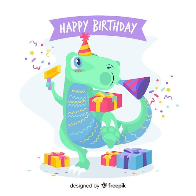 Feliz cumpleaños con dinosaurio y regalos vector gratuito