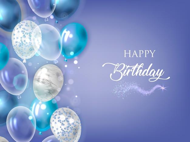Feliz cumpleaños fondo azul con globos. Vector Premium