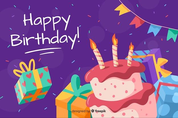 Feliz cumpleaños fondo dibujado a mano vector gratuito