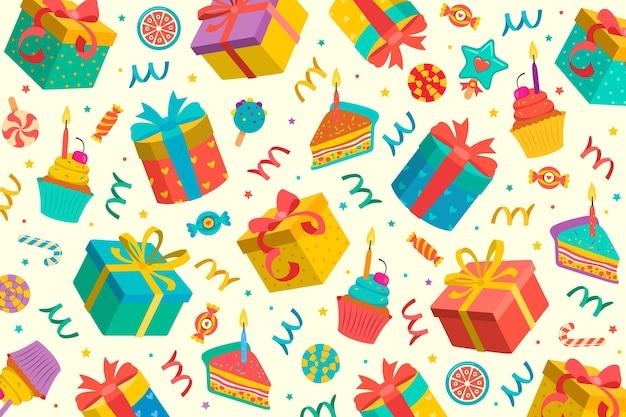 Feliz cumpleaños fondo de pantalla vector gratuito