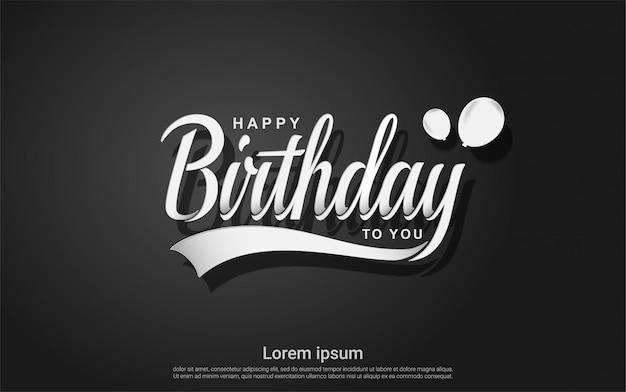 Feliz cumpleaños con globo sobre fondo negro Vector Premium