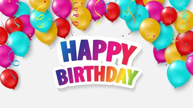 Feliz cumpleaños globos colorido Vector Premium