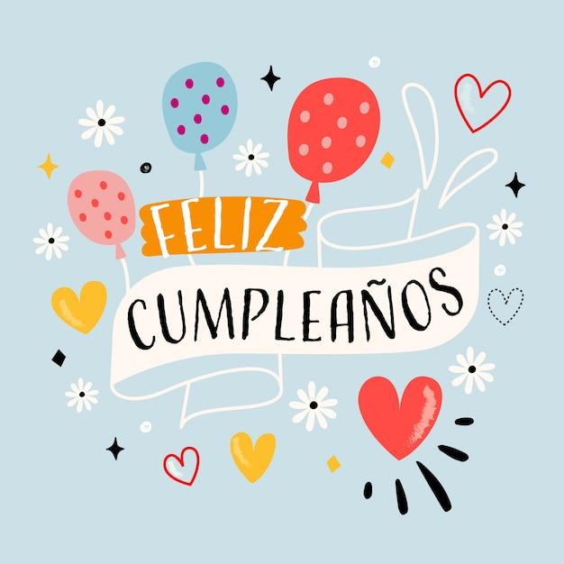 Feliz cumpleaños globos y flores letras vector gratuito
