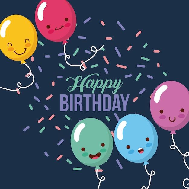Feliz cumpleaños globos kawaii  d0e602c2bad
